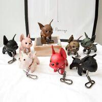 Bulldog Keychain Faux Leather Animal Dog Keyring Key Holder Bag Animal Charm New