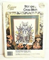 Vintage 1993 Stamped Counted Cross Stitch Kit CATS & TULIPS by Golden Bee