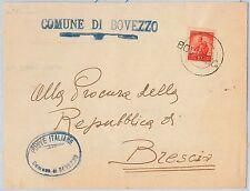 REPUBBLICA - Storia Postale: ANNULLO MUTO EMERGENZA su BUSTA da  BOVEZZO 1951