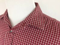 Banana Republic Relaxed Fit Button Shirt Mens Large Check Plaid Red Long Sleeve
