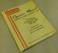 FARMHAND F100-C BALE ACCUMULATOR INSTRUCTIONS OPERATOR MANUAL PARTS LIST CATALOG