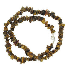 """TIGEREYE 18"""" CHIP BEAD NECKLACE STERLING SILVER CLASP"""