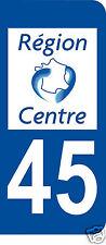 1 Sticker plaque immatriculation AUTO adhésif département 45