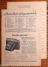 PHOTO PORST GELEGENHEITSLISTE Kamera Prospekt 1955 Agfa Zeiss Voigtländer X4007