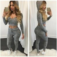 Women 2pcs Tracksuit Hoodies Sweats Sweatshirt Pants Sets Casual Suit Sport Wear