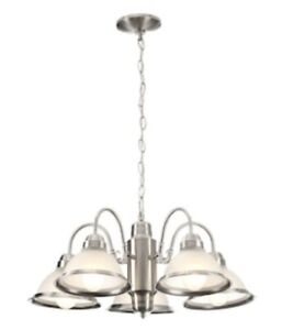 Hampton Bay Halophane 5-Light Brushed Nickel Chandelier with Frosted Glass Shade