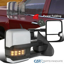 For 14-18  Silverado Power Fold Heat Clear View Tow Mirrors+Smoke LED Signal