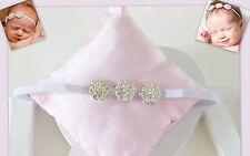NEU Fotoshooting Haarband weiß drei Strassblüte Baby & Mädchen H29-11