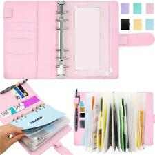 More details for a6 notebook binder budget planner organizer cover pockets cash wallet pu leather