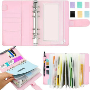 A6 Notebook Binder Budget Planner Organizer Cover Pockets Cash Wallet PU Leather