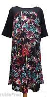 NEW WT Black & Floral Print Tea Dress PLUS SIZES 20-22
