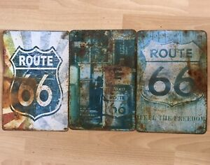 Vintage Route 66 Tin Signs x3 (A4) Advertisement Metal Man Cave American Bar