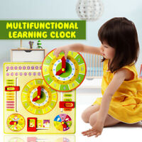 Wooden Multifunction Learning Clock  Alarm Calendar Cognition Educational  New