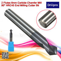Chamfer End Mill 90 Degree Cutter Router Bit Tool 2 Flutes HRC45 Carbide 6mm Dia