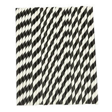 25pcs Striped Paper Dring Straws for Party Wedding Supplies (black & White) D6b3