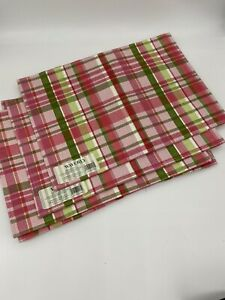FIVE WAVERLY PLAID PLACEMATS - NEW Pink
