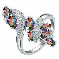 Women Fashion 925 Silver Rainbow Topaz Gemstone Ring Bridal Wedding Jewelry Buy