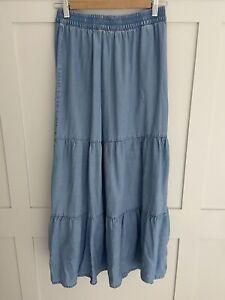 H&M Maxi Chambray Blue Denim Skirt Tiered 36 8 - 10