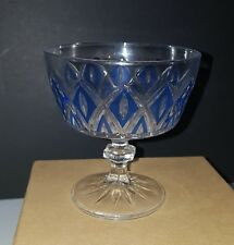 Vintage Glass Candy Dish with Blue Diamonds Free shipping Canada USA