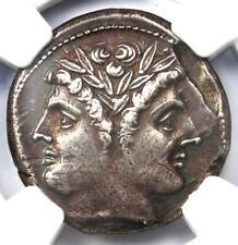 Anonymous AR Quadrigatus Janus Dioscuri Janiform Coin 225 BC. NGC Choice XF