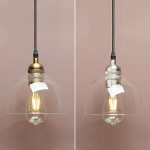 """NEW 6.9"""" VINTAGE INDUSTRIAL CLEAR GLASS BOWL LAMP SHADE CEILING PENDANT LIGHT"""