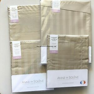 Anne De Solene ALLURE GREGE 4pc QUEEN DUVET COVER  TAN SATEEN STRIPE ~  NEW