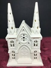 Partylite Village Church Cathedral Tea Light Bisque porcelain Candle Holder Nib