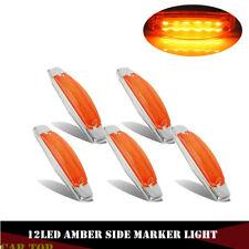 5x Amber Side Marker Light Clear Lens 12LED Panel Under Cab For Peterbilt 379