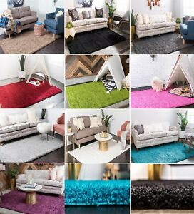 Fluffy Modern Thick 5cm High Pile Plain Soft Non-shed Vibrant Shaggy Area Rugs