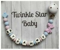 Handmade Silicone Personalised Dummy Clip Baby Blue Lilac Boy Girl 💙💜💙💜