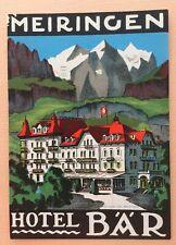 Luggage Label Hotel Bär Meiringen- Switzerland (Bruegger)