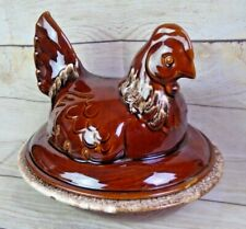 Vintage Hull Art Pottery Large Chicken Casserole Dish The Big One Brown Drip