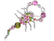 Lady Stunning Multi Color Crystal Rhinestone Scorpion Animal Pin Brooch Jewelry