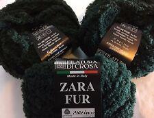 LOT of 3 Filatura di Crosa Zara Fur Yarn #11 Hunter Green Merino Wool Chenille