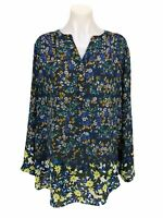 Investments II Top Women's Plus Size 2X Long Sleeve Floral Blouse Tunic V Neck