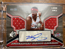 LEBRON JAMES 2005-06 SPX AUTO with 2 ALL STAR GAME WORN JERSEY RELICS! /25
