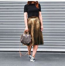 Zara Gold Pleated Midi Skirt Long Flared Size XS