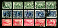 US Stamps # 328-330 F-VF Lot of 5 Used Sets Fresh Scott Value $192.50