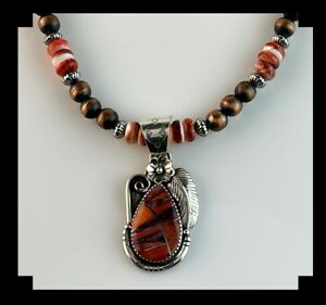 White Fox Creation: Sterling, Copper and Spiny Oyster Necklace