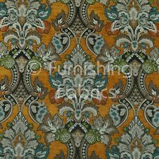 Quality Rich Detail Damask Floral Pattern In Orange Upholstery Furnishing Fabric