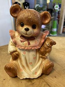 Vintage Teddy Bear with Glass Eyes Cookie Jar, Japan