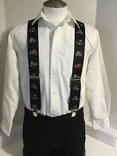 "New, Men's, Motorcycles on Black, XL, 2"", Adj. Suspenders / Braces, Made in USA"