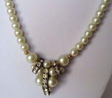 collier perles blanches déco central cristal diamant bijou rétro couleur or 343