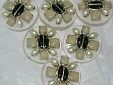 CHANEL 6  METAL CC LOGO FRONT BLACK GLASS PEARL BUTTONS 32 MM /OVER 11/4'' lot 6