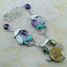 "Ammonite Nautilus Fossil Biwa Pearl 925 Sterling Silver Necklace 20.5"" #G72319"