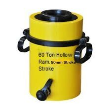 60 TON HOLLOW HYDRAULIC RAM CYLINDER WITH 50mm STROKE. £298.00 + VAT