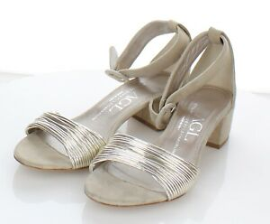 L39 $365 Women's Sz 38 M AGL Suede Ankle Strap Sandal In Nude/Gold