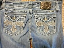 Women's MISS ME Boot Cut Jeans with CROSS Flap Pockets Thick stitch Sz 31