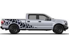 Vinyl Decal Wrap TIRE TRACKS for Ford F-150 15-17 MATTE BLACK SuperCrew 6.5 Bed