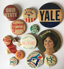 Mixed Lot of  Vintage Sport & College Buttons Pinbacks Yale Ohio State NY Jets